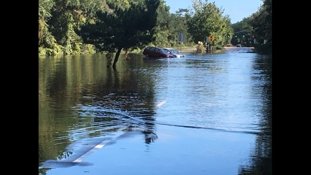 Shore Drive in Virginia Beach is flooded near the entrance to First Landing State Park on Tuesday, Oct. 11, 2016. Credit_ WAVY_Bill Cole_394926