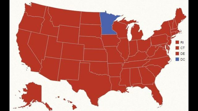 The Red Sea_ Incumbent Ronald Reagan easily wins reelection in 1984, winning 525 electoral votes over Democratic challenger Walter Mondale. Rea_187314