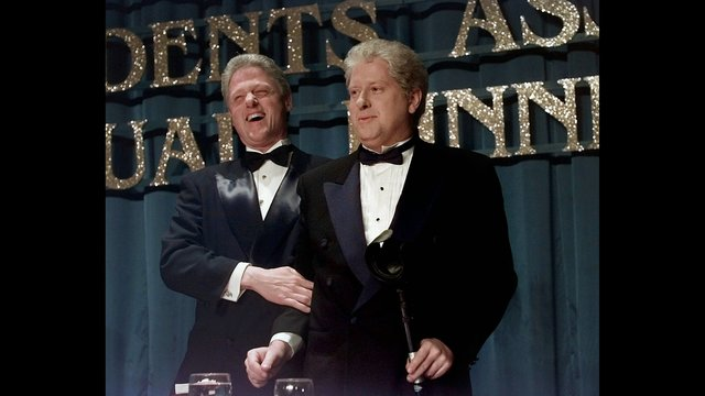 "President Clinton, left, laughs with look-alike Darrell Hammond of ""Saturday Night Live"" at the 53rd annual dinner of the Radio and T_187389"