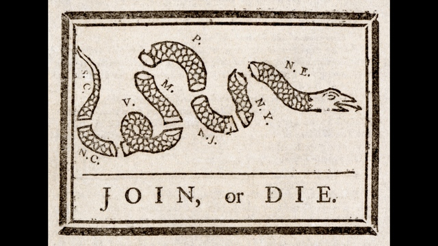 """""""Join or Die"""" by Benjamin Franklin. (WikiCommons)_187457"""