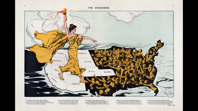 """Lady Liberty, wearing a cape labeled """"Votes for Women,"""" stands astride the states (colored white) that had adopted suffrage. A poem b_187492"""