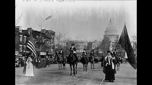 Members of the National American Women Suffrage Association, seeking the right to vote in elections, march down Pennsylvania Avenue NW in Washi_187516