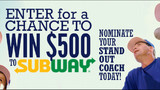 Enter the Subway Standout Volunteer Coach Contest
