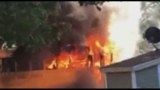 North Carolina school bus bursts into flames