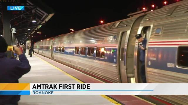 first amtrak train leaves downtown roanoke platform