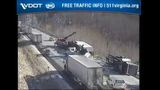 Overturned tractor trailers cause major backup on I-77 North