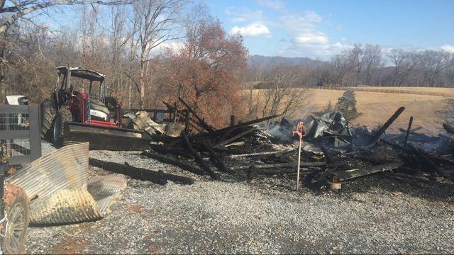 Bedford barn fire damage 012318