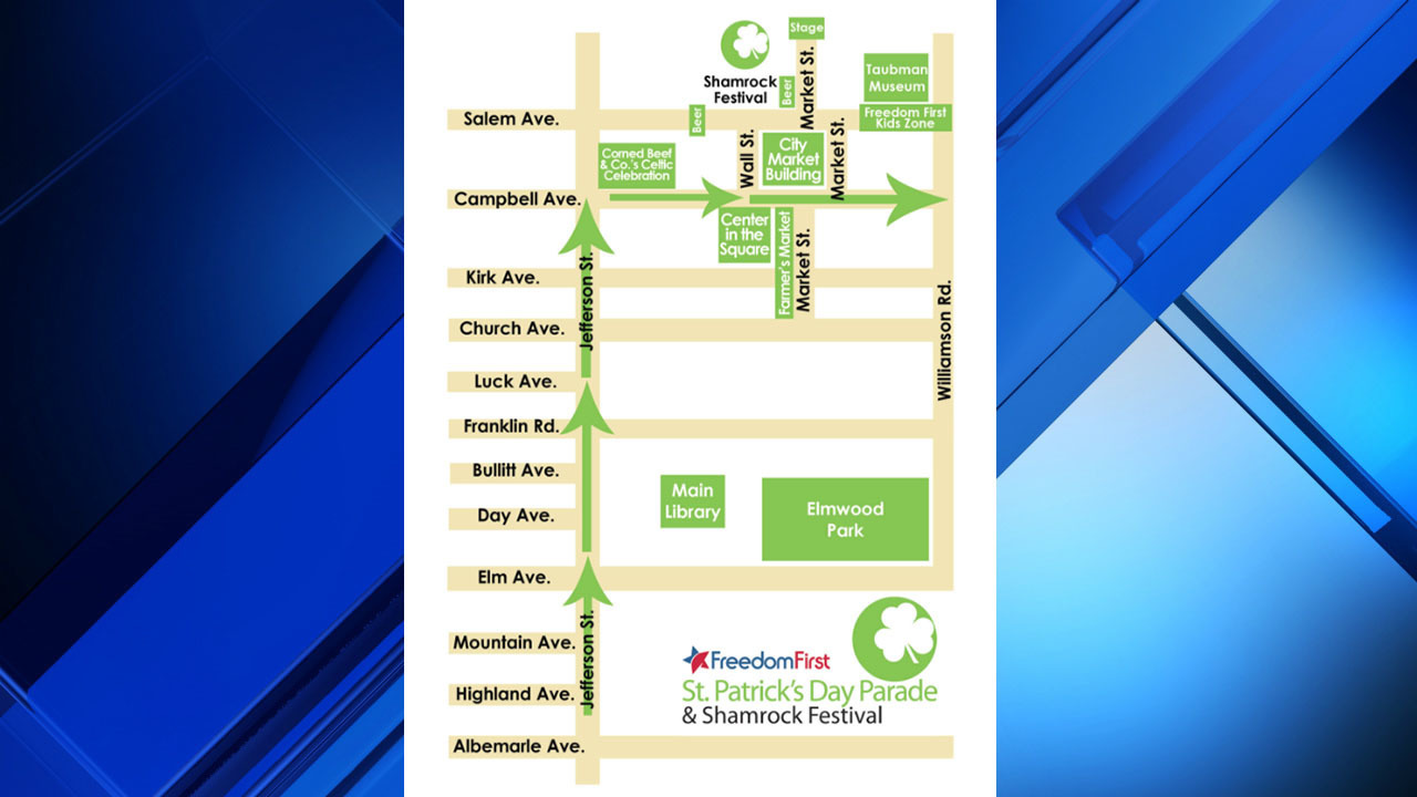 Weekend road closures for downtown Roanoke St. Patrick's Day ... on street map franklin county, street map united states, city map gander way roanoke, street map garden city, street map virginia, street map of salem va,