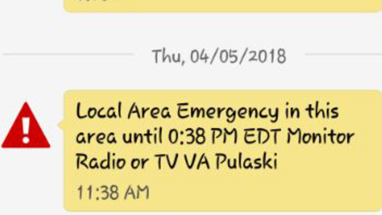 Police: Emergency alert mistakenly sent to Pulaski residents