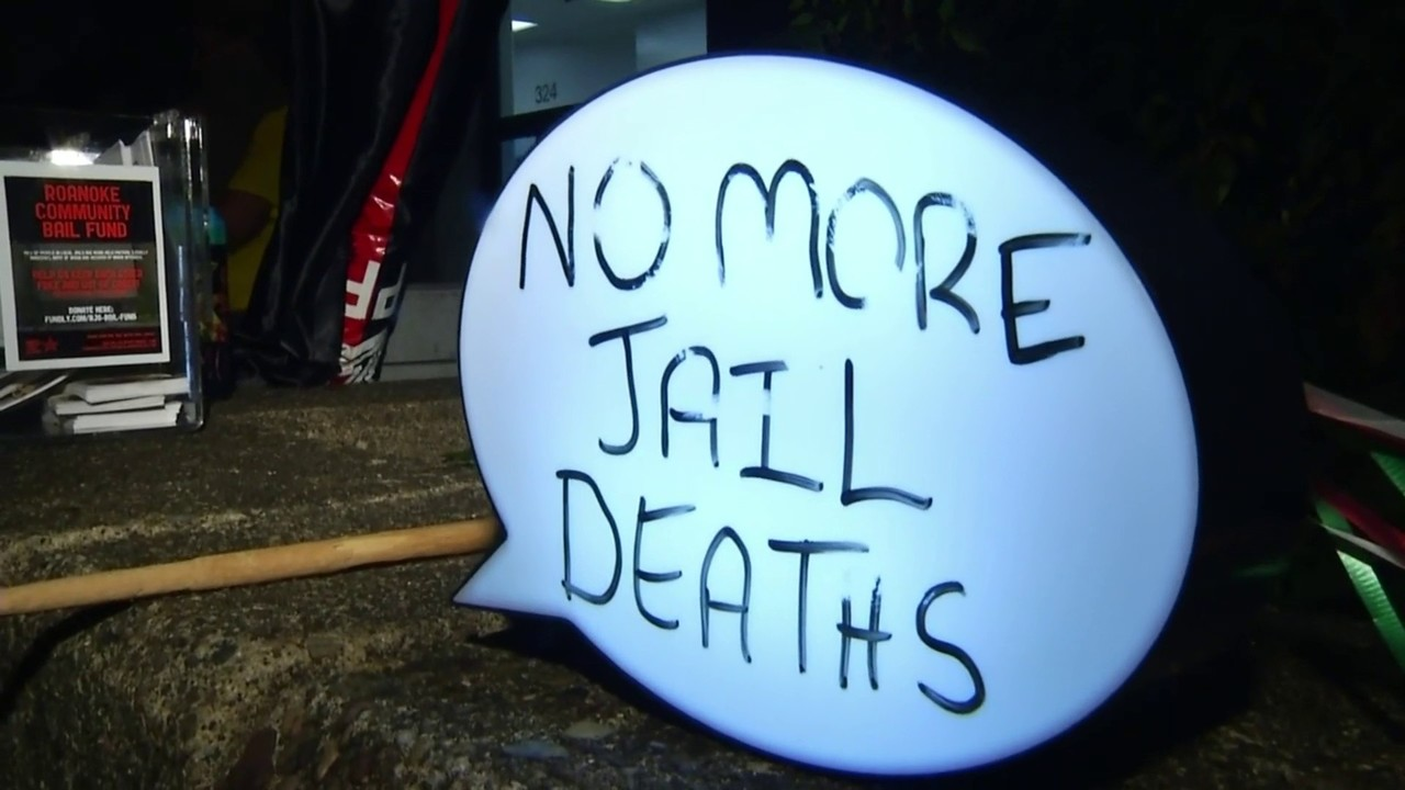 Dozens protest in front of Roanoke Jail over inmate deaths