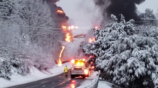 Driver charged in massive tanker fire blocking Route 220