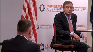 VA Sen. Mark Warner's last stop is Lynchburg, talks about economic opportunities