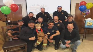 Martinsville firefighters help celebrate 3-year-old's birthday
