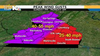 High wind gusts could cause damage, outages on Sunday, Monday
