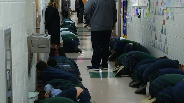 Students at Roanoke Catholic School partake in statewide tornado drill