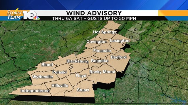Wind advisory issued for parts of our region through Saturday morning