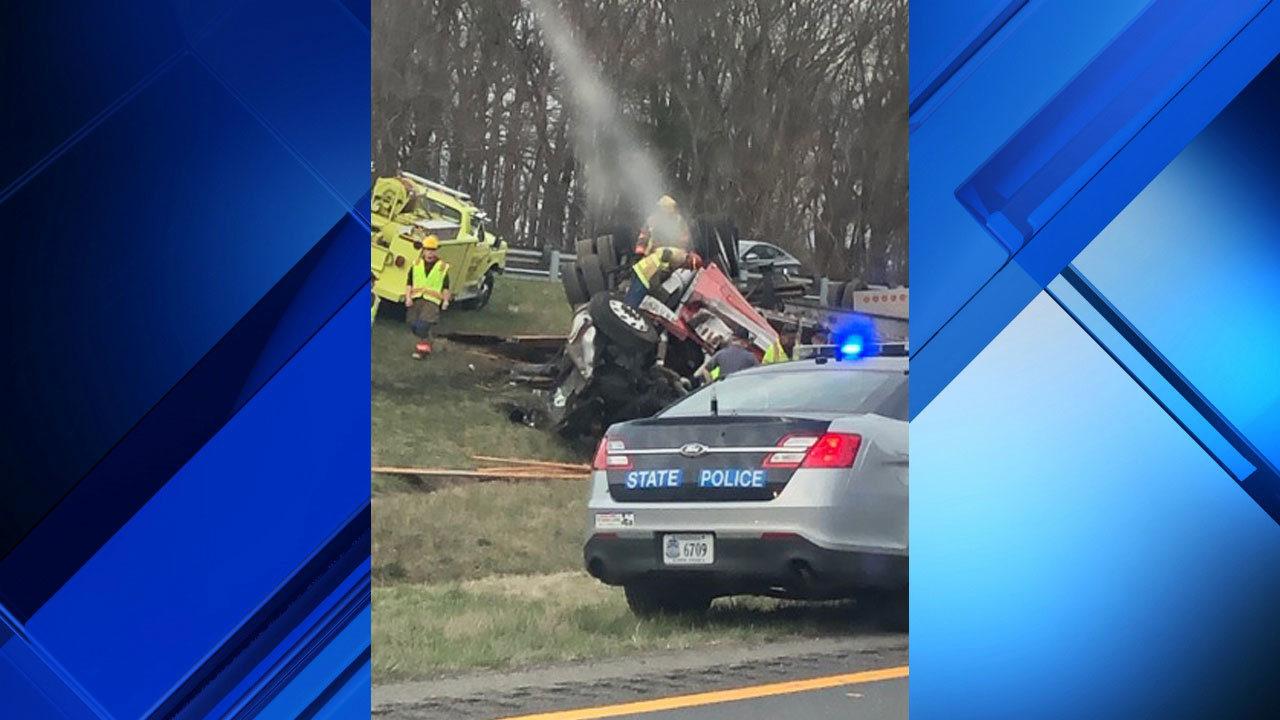 Tractor-trailer crash causes 4-mile backup on I-81 in Pulaski