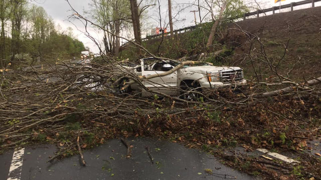 Storm throws tree on Franklin County truck&#x3b; man escapes with minor injuries
