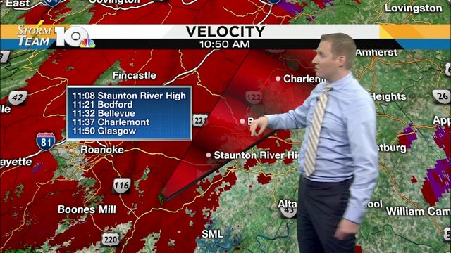 Confirmed tornado located over Smith Mountain Lake