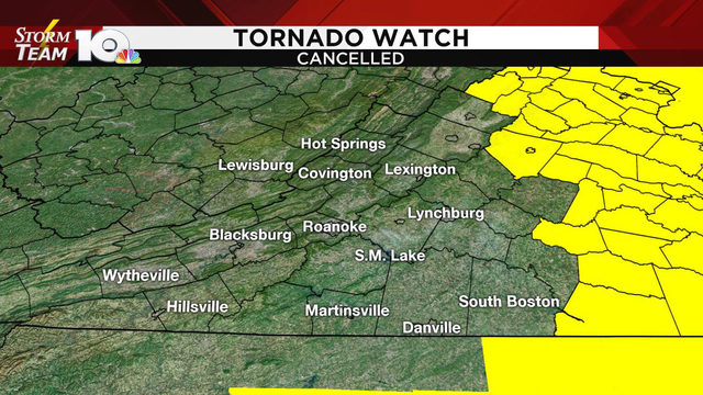Tornado watch for southwest, central Virginia canceled