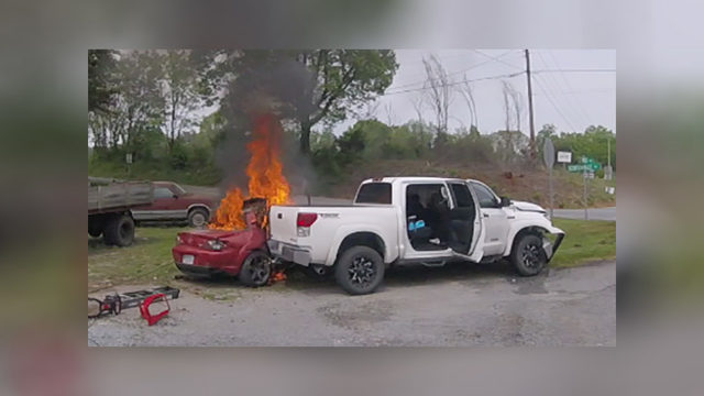 One hospitalized after car bursts into flames after Bedford County crash