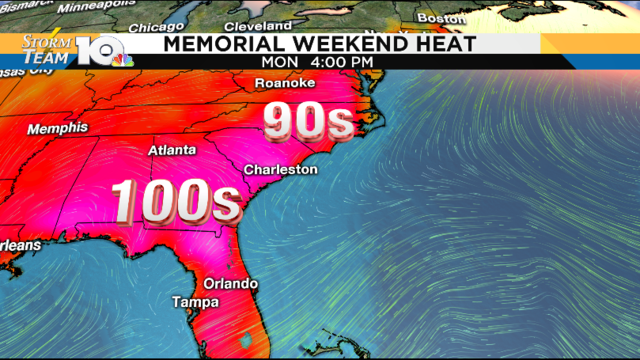 Few more storms today, blazing heat arrives for Memorial Day weekend