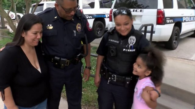 Danville police officers attend girl's birthday party