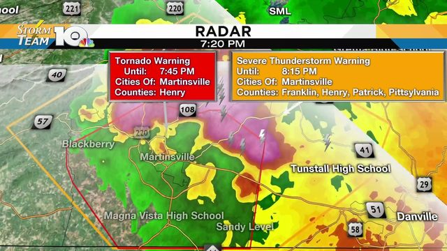 Tornado Warning expires for Martinsville, Henry County