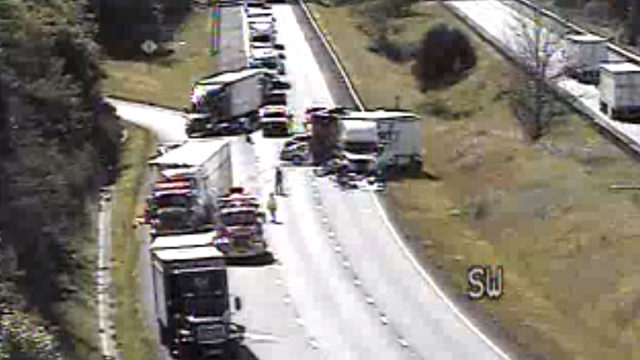 Tractor-trailer crash on I-81 in Montgomery County causes 4-mile backup