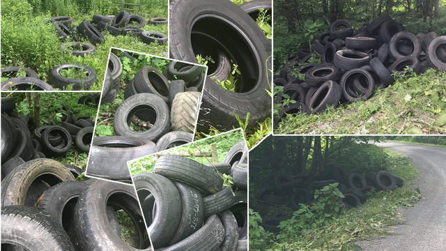 County offering reward after hundreds of tires dumped on side of…