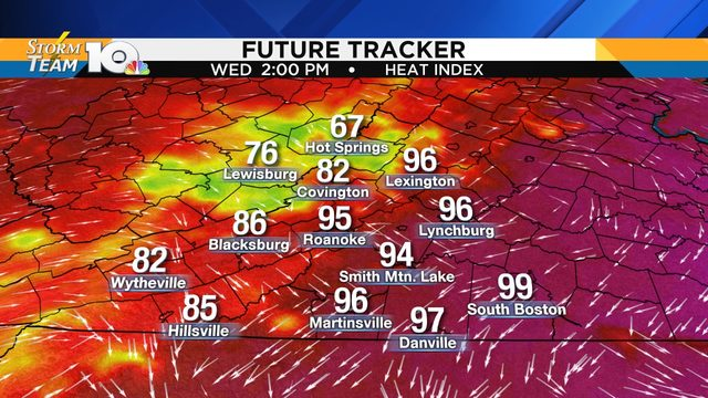 Heat index soars before scattered storms develop