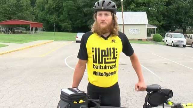 Man stops in Roanoke while biking across country to help Yemen
