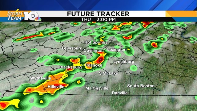 Potential for a few strong-to-severe thunderstorms Thursday afternoon