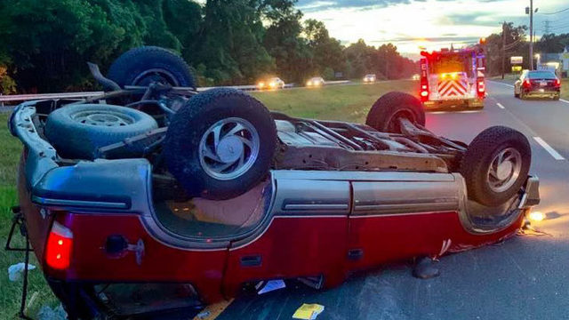 Two people hospitalized after SUV flips over in Bedford County