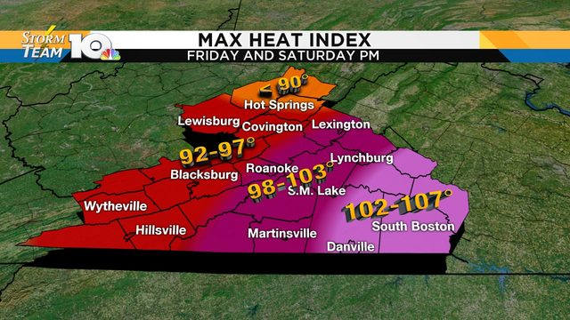 Triple-digit heat index likely in some areas Friday, this weekend