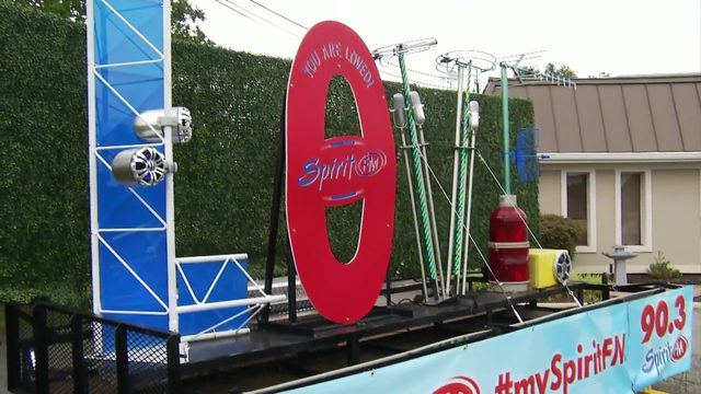 Spirit FM creates LOVEworks sign out of radio equipment