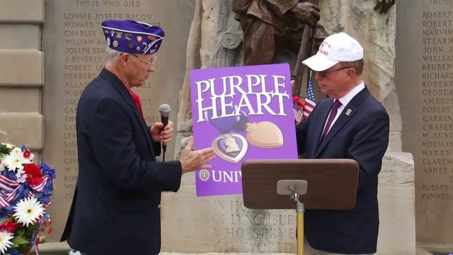 Veterans commemorate Purple Heart Day at Monument Terrace
