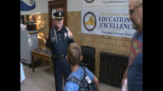 Back to school: Danville police greet kids as they return to class