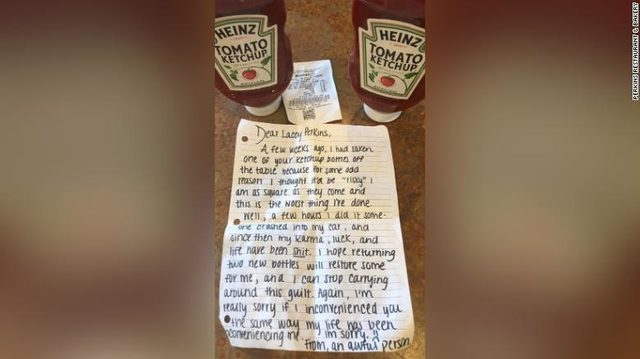 Ketchup thief's leaves apology note and a bottle of ketchup