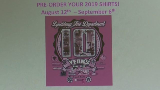 Lynchburg firefighters selling T-shirts for 10th year of cancer…