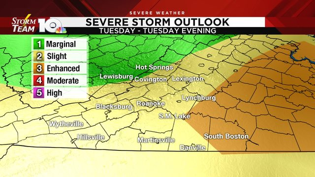 Severe thunderstorms possible Tuesday afternoon, evening