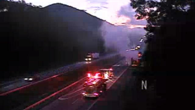 Tractor-trailer fire on I-81 in Botetourt County closes all northbound lanes