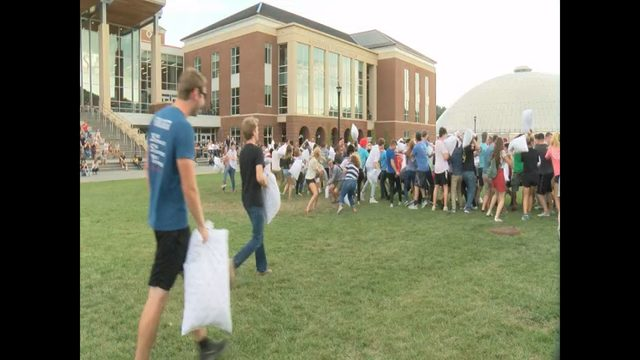 Liberty University students have huge pillow fight on campus