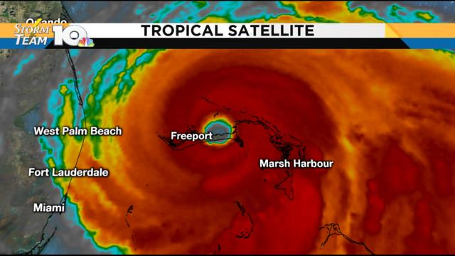 Dorian remains a Category 5 hurricane, tracking over the Bahamas