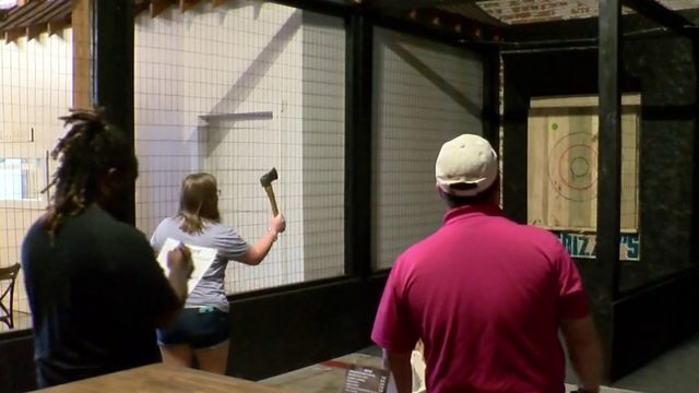 Axe throwing proves popular in Danville