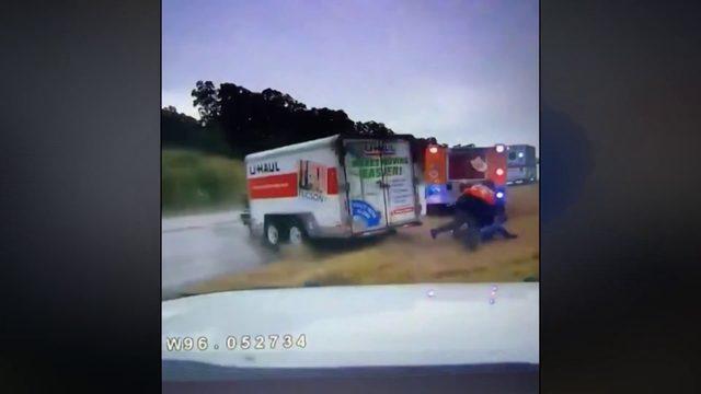 Oklahoma Highway Patrol releases video of hydroplaning U-Haul slamming…