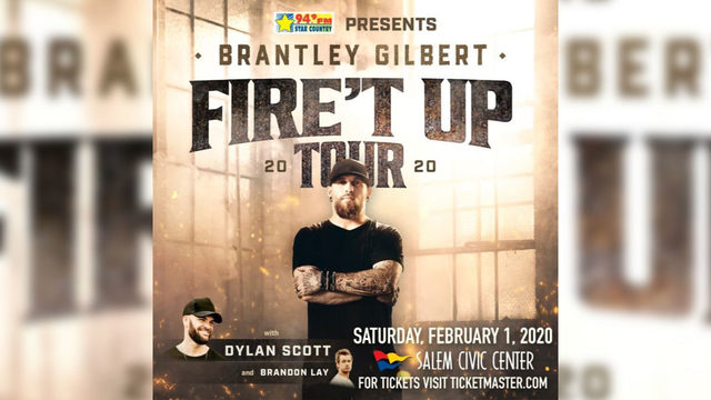 Brantley Gilbert coming to Salem Civic Center on February 1