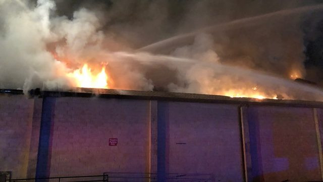 Rives Theater in Martinsville on fire Sunday evening