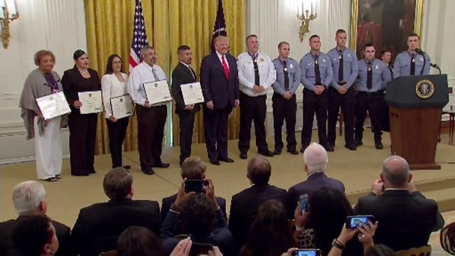 FULL CEREMONY: President Trump presents Medal of Valor to Dayton…