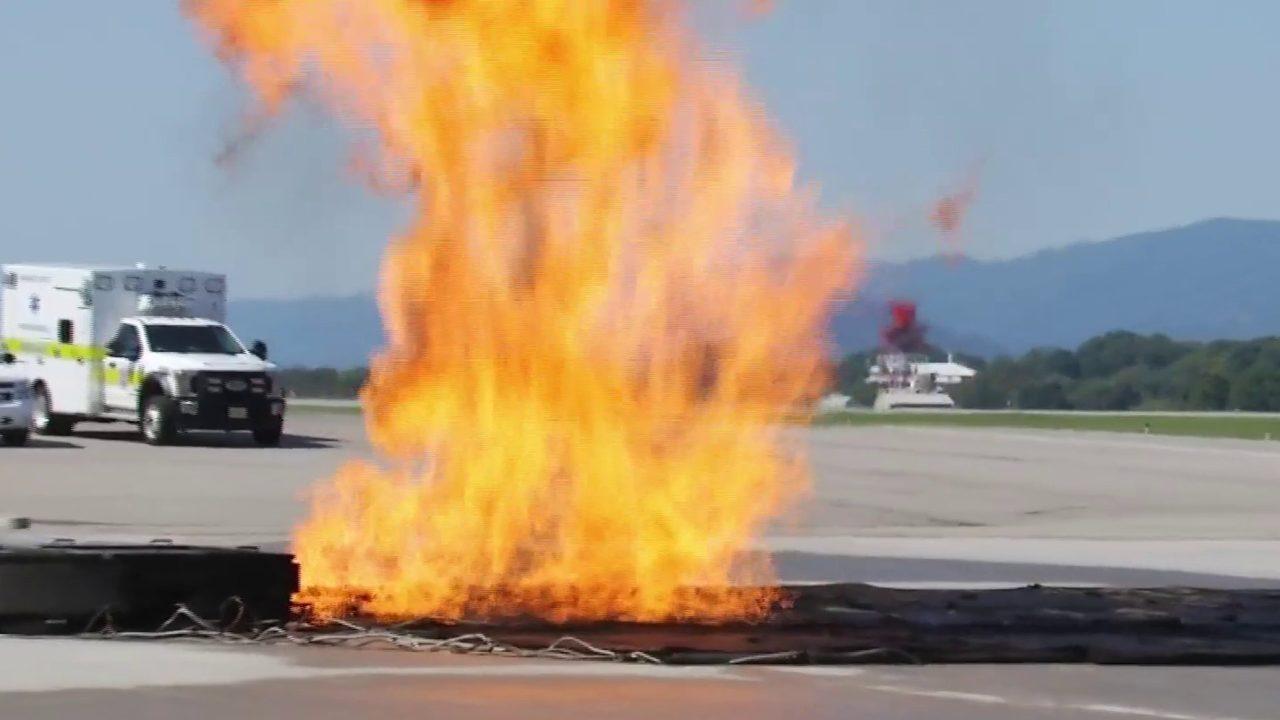 Firefighters practice burn emergency strategies at Roanoke-Blacksburg Regional Airport